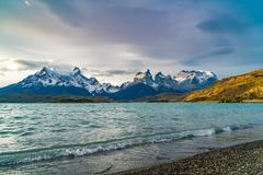 View of Cuernos del Paine mountains and Pehoe Lake in the evening. At Torres del Paine National Park, Chile stock photo