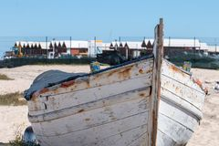 Culatra docks. View of the culatra island docks with traditional fishing boats Stock Images