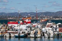 Culatra docks. View of the culatra island docks with traditional fishing boats Royalty Free Stock Photos