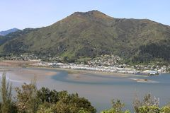 Havelock, Marlborough Sounds, New Zealand. View from Cullen Point lookout towards Havelock town and marina, Marlborough Sounds, South Island, New Zealand with Stock Image