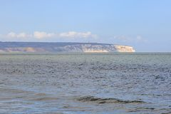 Looking at Culver Down. A view of Culver Down over the ocean, taken from Shanklin beach Royalty Free Stock Image