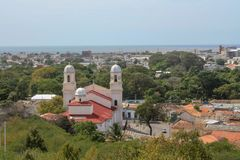 View from Cuman castle down to church. State Sucre, Venezuela stock photos