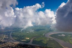 View of a cumulus clouds from above stock image