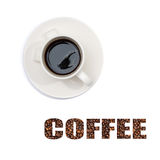 View of a cup of coffee on top with subtitles Stock Images