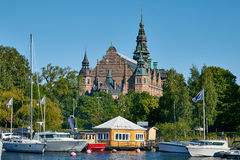 View of Curch near a lake in Sweden Royalty Free Stock Photography