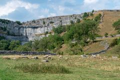 View of the curved cliff at Malham Cove in the Yorkshire Dales N. Ational Park Royalty Free Stock Images