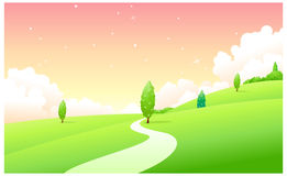 The view of Curved path over green Stock Photography