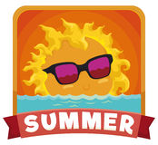 View of Cute Sun in a Sunset in Summertime, Vector Illustration. Cute sun with sunglasses setting down in the sea in a warm afternoon of summer Stock Photography