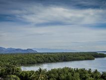 View of the Cuyutlan lagoon with a wonderful blue sky royalty free stock photography