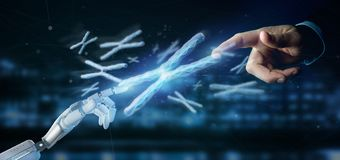 Cyborg hand holding a Group of chromosome with DNA inside isolated on a background 3d rendering. View of a Cyborg hand holding a Group of chromosome with DNA stock images