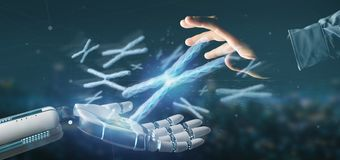 Cyborg hand holding a Group of chromosome with DNA inside on a background 3d rendering. View of a Cyborg hand holding a Group of chromosome with DNA inside on a stock photography