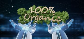 Cyborg holding a Wooden logo 100 % organic with leaves around 3d. View of a Cyborg holding a Wooden logo 100 % organic with leaves around 3d rendering stock illustration