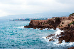 View of Cyprus coastline. Cypriot coastline in a hot summer Royalty Free Stock Photo