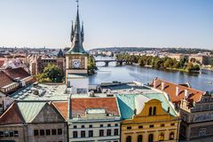 View on Prague from the old town bridge tower Stock Photos