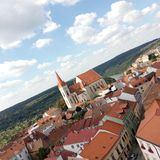 View on a Czech city. View from a lookout in Znojmo in Czech republic Stock Photos