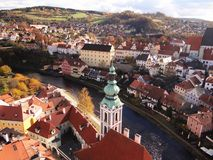 Aerial view of Cesky Krumlov, Czech Republic stock photography