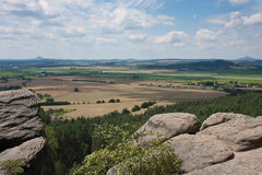 View at the Czech lowland plain. From the rocks of the Bohemian Paradise (Cesky Raj stock image