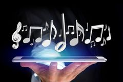 3d render music notes on a futuristic interface Royalty Free Stock Photography