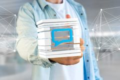3D rendering Blue Email symbol displayed in a sliced cube. View of a 3D rendered Blue Email symbol displayed in a sliced cube Royalty Free Stock Images