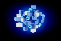 3d rendering blue and white cube on a color background. View of a 3d rendering blue and white cube on a color background Stock Image
