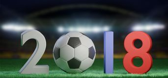 Football world cup 2018 in Russia - 3d rendering. View of a 3d rendering Football world cup 2018 in Russia Royalty Free Stock Photography