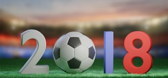 Football world cup 2018 in Russia - 3d rendering. View of a 3d rendering Football world cup 2018 in Russia Royalty Free Stock Photos