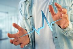 3d rendering heart beat line on a futuristic interface Stock Images