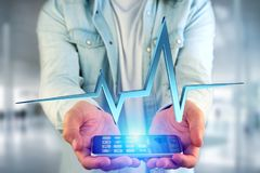 3d rendering heart beat line on a futuristic interface. View of a 3d rendering heart beat line on a futuristic interface royalty free stock images