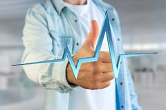 3d rendering heart beat line on a futuristic interface Stock Photography