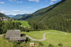 View from the D`ultimo out towards Merano Valley. View from the D`ultimo in South Tyrol in the direction of Merano Valley in summer 2017 in nice weather stock photography