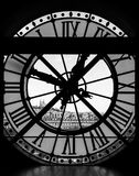 View through d& x27;orsay museum clock tower of Sacre-Coeur Basilica Stock Photography