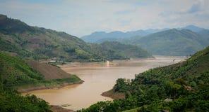 View of Da Giang river and cloudy sky in Hoa Binh, Vietnam Stock Photography