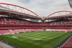 View of Da Luz Stadium: Red Empty Seating and Green Soccer Pitch Royalty Free Stock Image
