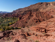 View from dades valley. Wide landscape and village in dades valley, Morocco Africa Royalty Free Stock Photo