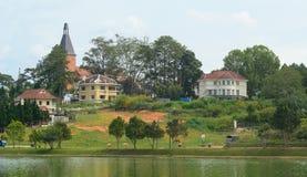 View of Dalat city and Xuan Huong lake Royalty Free Stock Photos