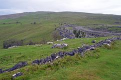 View of the dales and limestone pavement from the top of Malham Cove Yorkshire Dales National Park royalty free stock photography