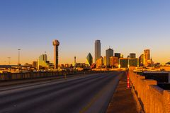 View of Dallas cityscape from the Houston St. Viaduct bridge during sunset stock photos
