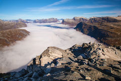 View from Dalsnibba mountain to clouds over Geiranger Norway Royalty Free Stock Photography