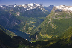 Geiranger Fjord. From the photo, the Geiranger fjord and the Ørnevegen can be seen clearly Royalty Free Stock Images
