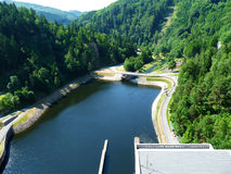 View from dam. Into the water and valley Stock Photography