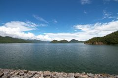 View from dam crest Royalty Free Stock Images