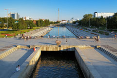 View from the dam on Iset river in Yekaterinburg Stock Photos
