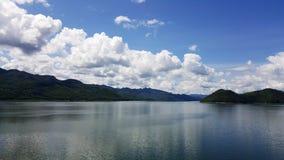 View from dam located in Srinakarin Dam Kanchanaburi Royalty Free Stock Photo