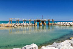 View on dam on the Mediterranean Sea Royalty Free Stock Photography