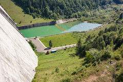View on dam in mountains Royalty Free Stock Photo
