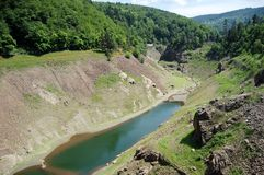 View from the dam on the river Furan, France Stock Photo