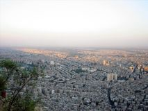 View at Damascus. Town on sunset, in Syria Stock Images