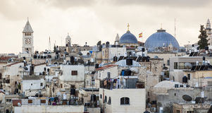 View from  Damascus gate to Jerusalem Old Town. Israel. Royalty Free Stock Photography