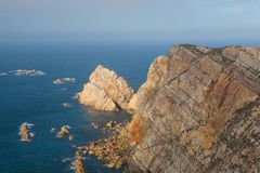 View of danger cliffs in Cabo Penas, Spain Royalty Free Stock Photo