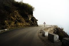 View of dangerous road in north Sikkim. India royalty free stock photo